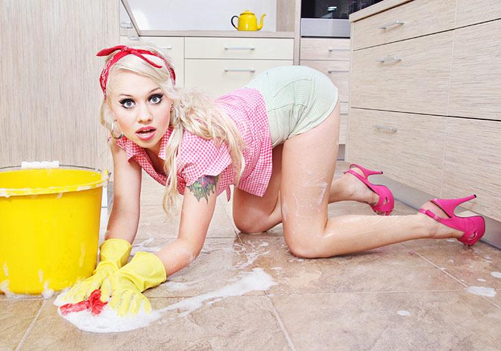 clean kitchen walls floors
