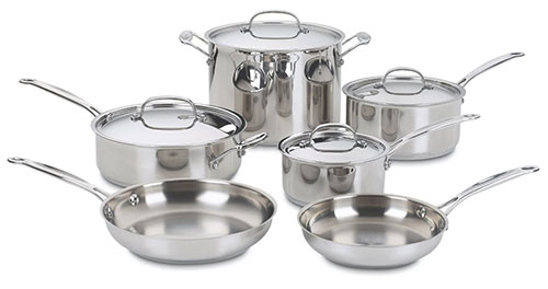 2. Cuisinart 77-10 Chef's Classic Stainless Steel Cookware Set